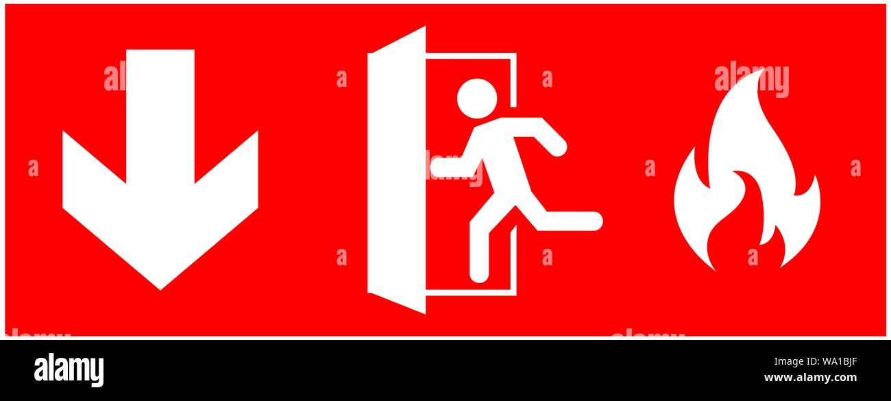 emergency fire exit sign. running man icon to door. Red color. arrow vector. warning sign plate Stock Vector