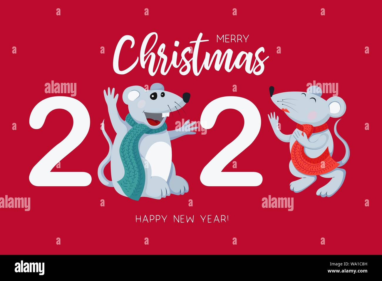 Chinese New Year Holiday 2020.White Rats Symbol Of The 2020 Chinese New Year Holiday