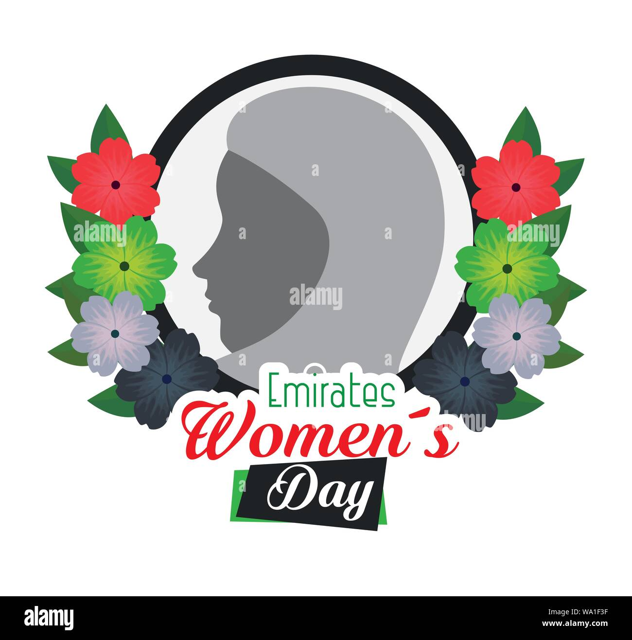 label of woman silhouette with flowers and leaves Stock Vector