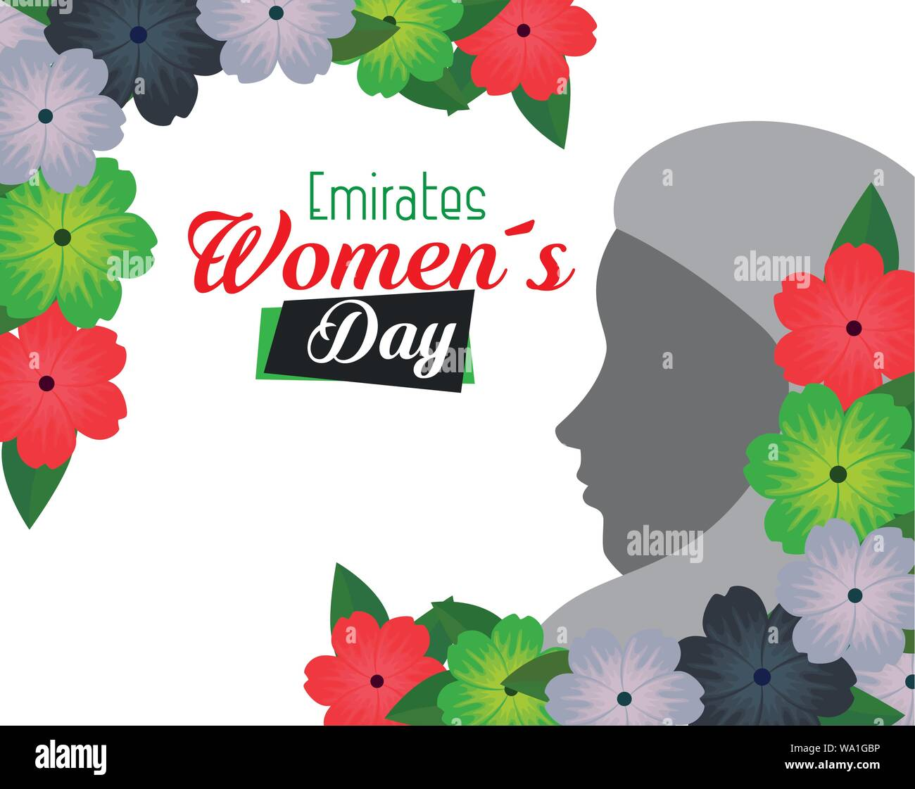 woman silhouette with flowers and leaves design Stock Vector