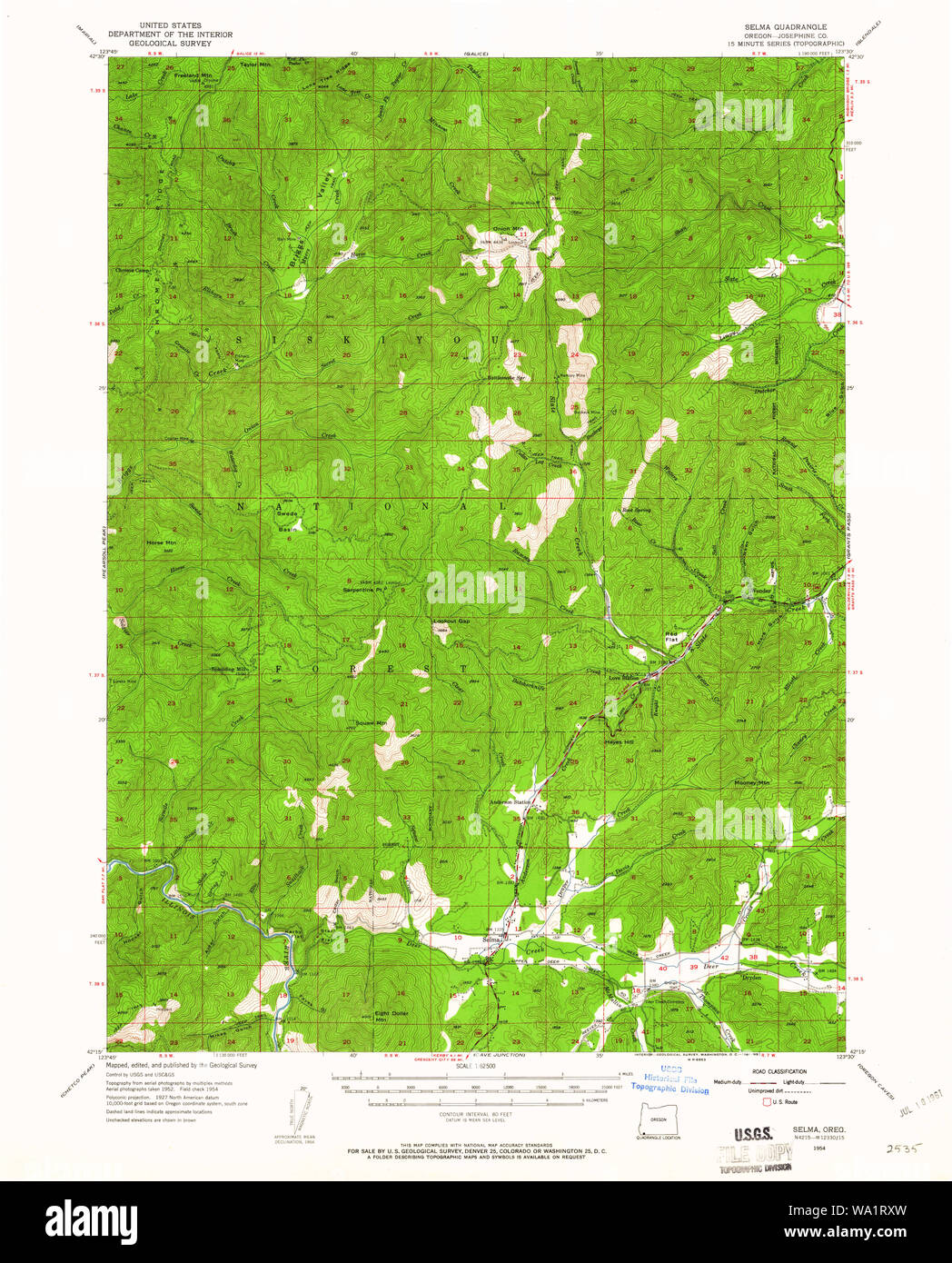 Usgs Topo Map Oregon Selma 282876 1954 62500 Restoration