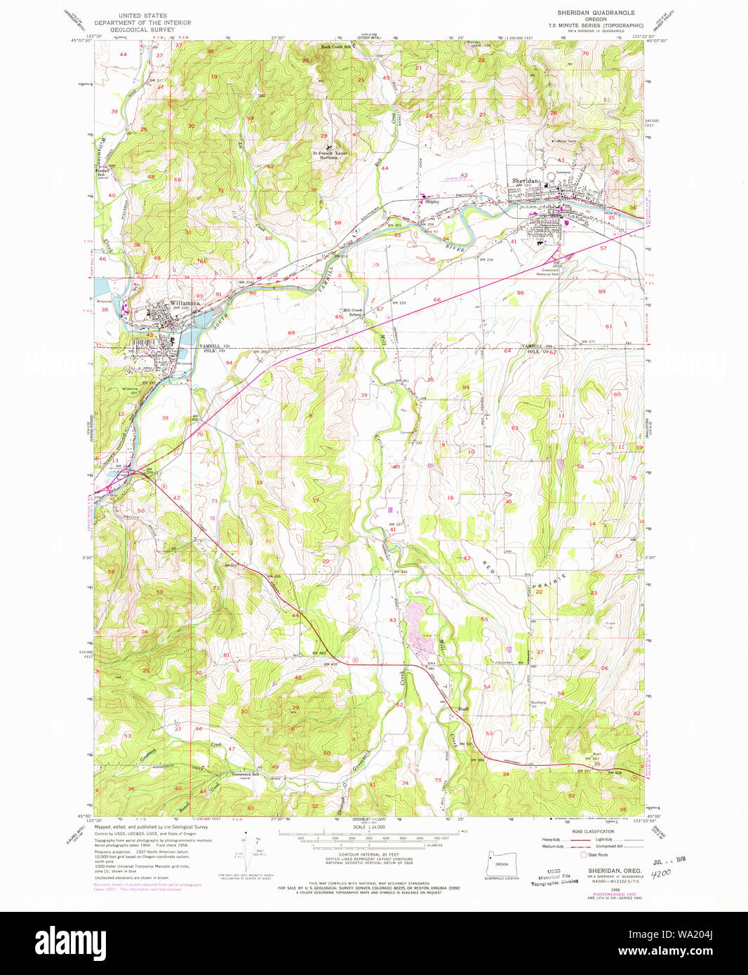 Usgs Topo Map Oregon Sheridan 281471 1956 24000 Restoration