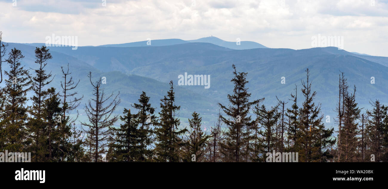 Moravskoslezske Beskydy mountains with highest Lysa hora hill from forest glade bellow Velka Cantoryje hill in Slezske Beskydy mountains in Czech repu Stock Photo