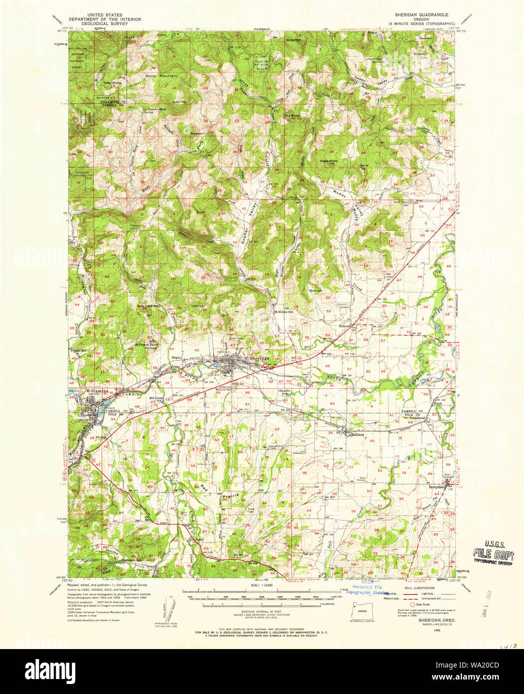 Usgs Topo Map Oregon Sheridan 282882 1956 62500 Restoration