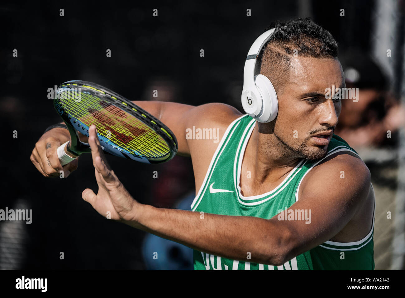 Montreal - AUGUST 5. Nick Kyrgios, professional tennis player and genius at training during ATP Tour Masters 1000 tournament, Canada Open aka Rogers Cup in Montreal August 5 2019. Stock Photo