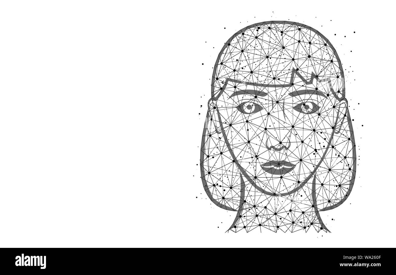 Girl head poly design, female face abstract geometric image