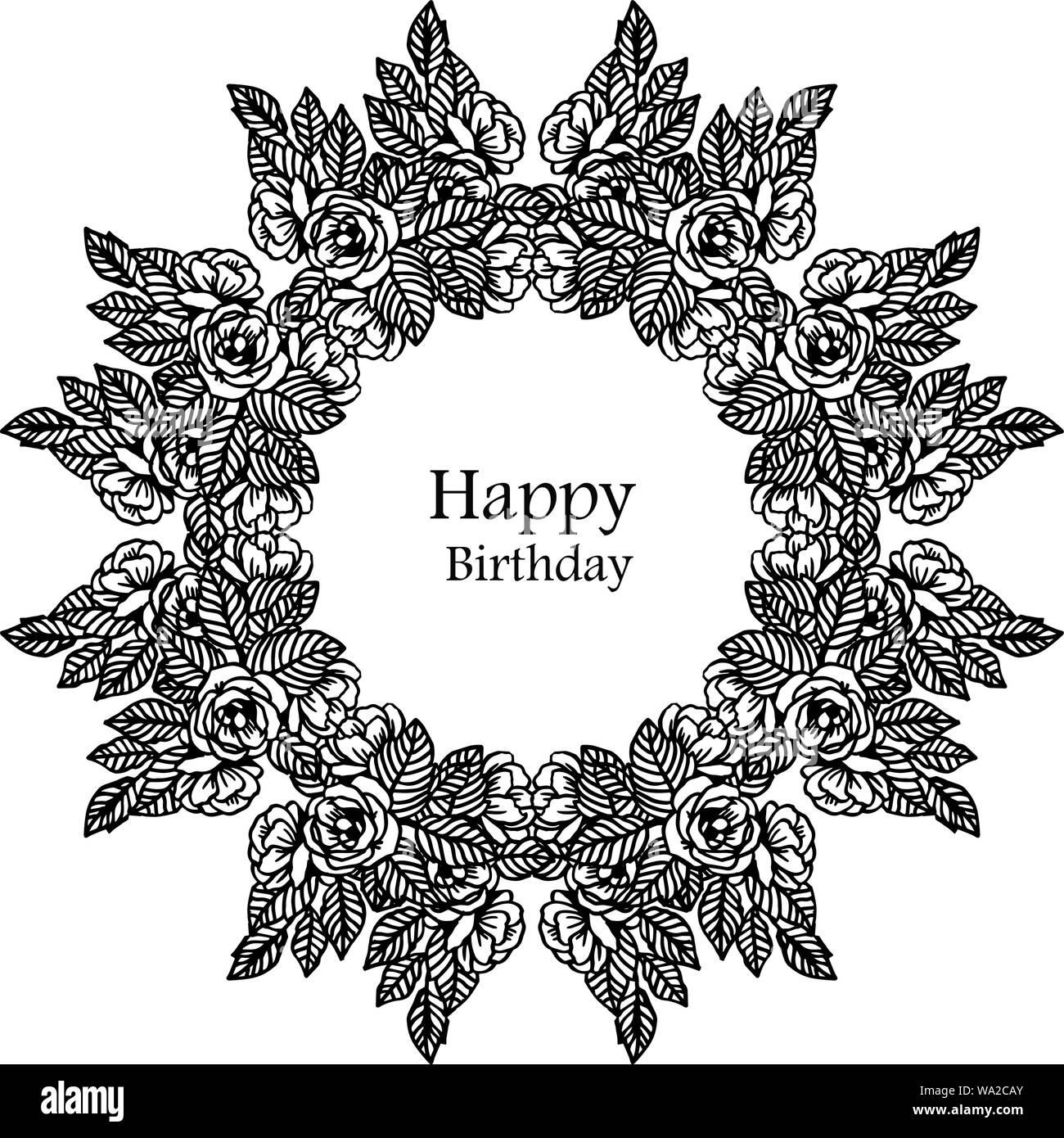 Lettering Of Happy Birthday Design Beautiful Black White
