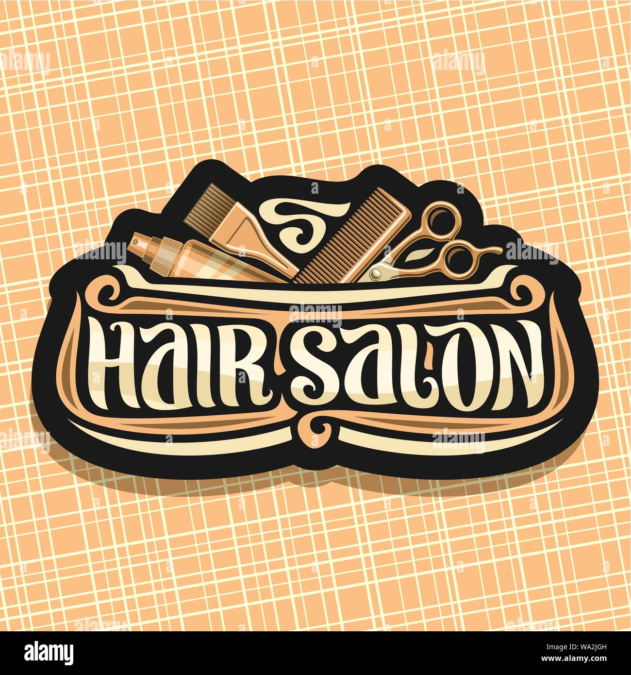 Vector Logo For Hair Salon Black Signage With Hairdresser Professional Equipment Original Brush Typeface For Words Hair Salon Design Signboard With Stock Vector Image Art Alamy
