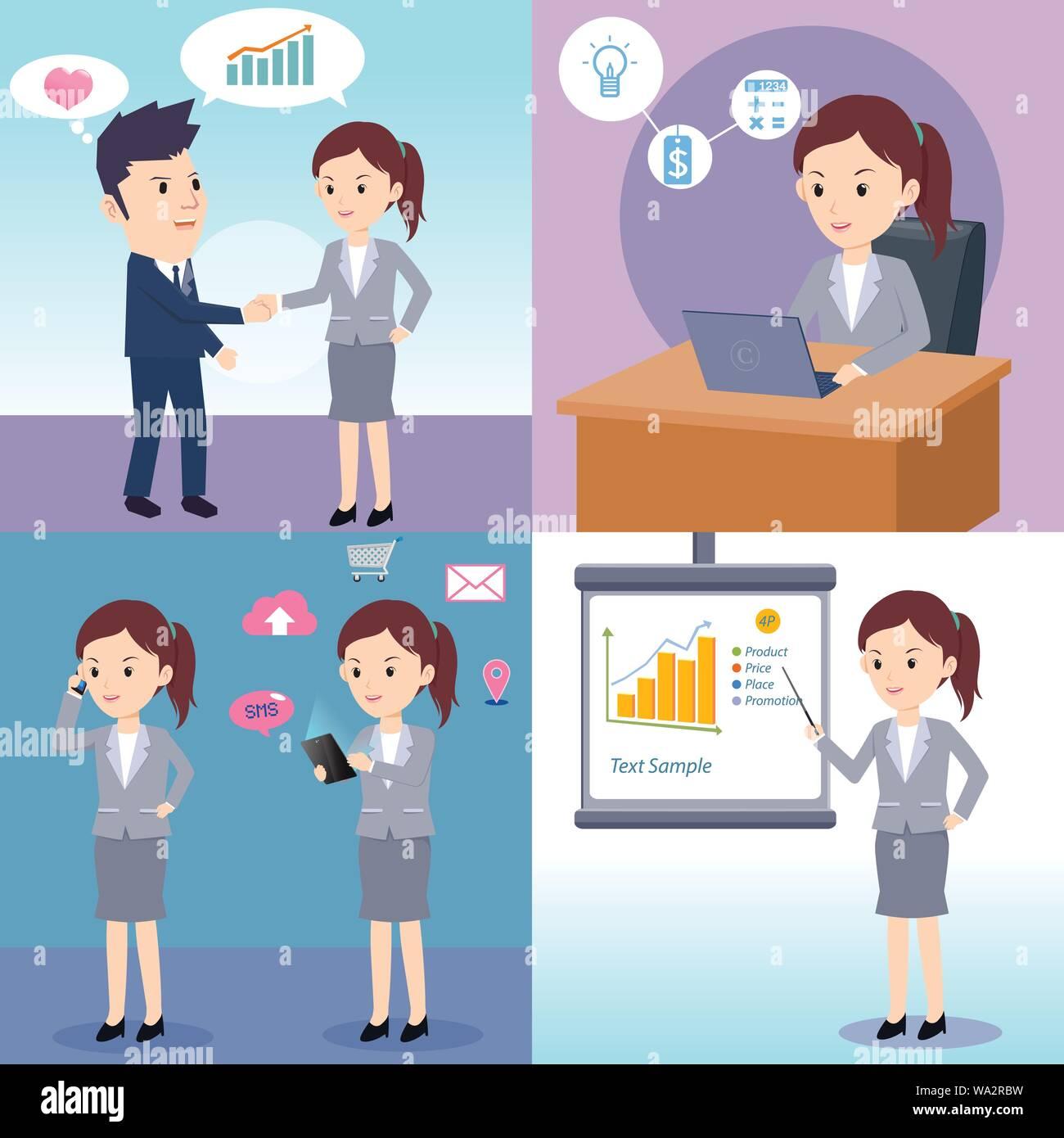Businessman woman working cartoon character Set Stock Vector