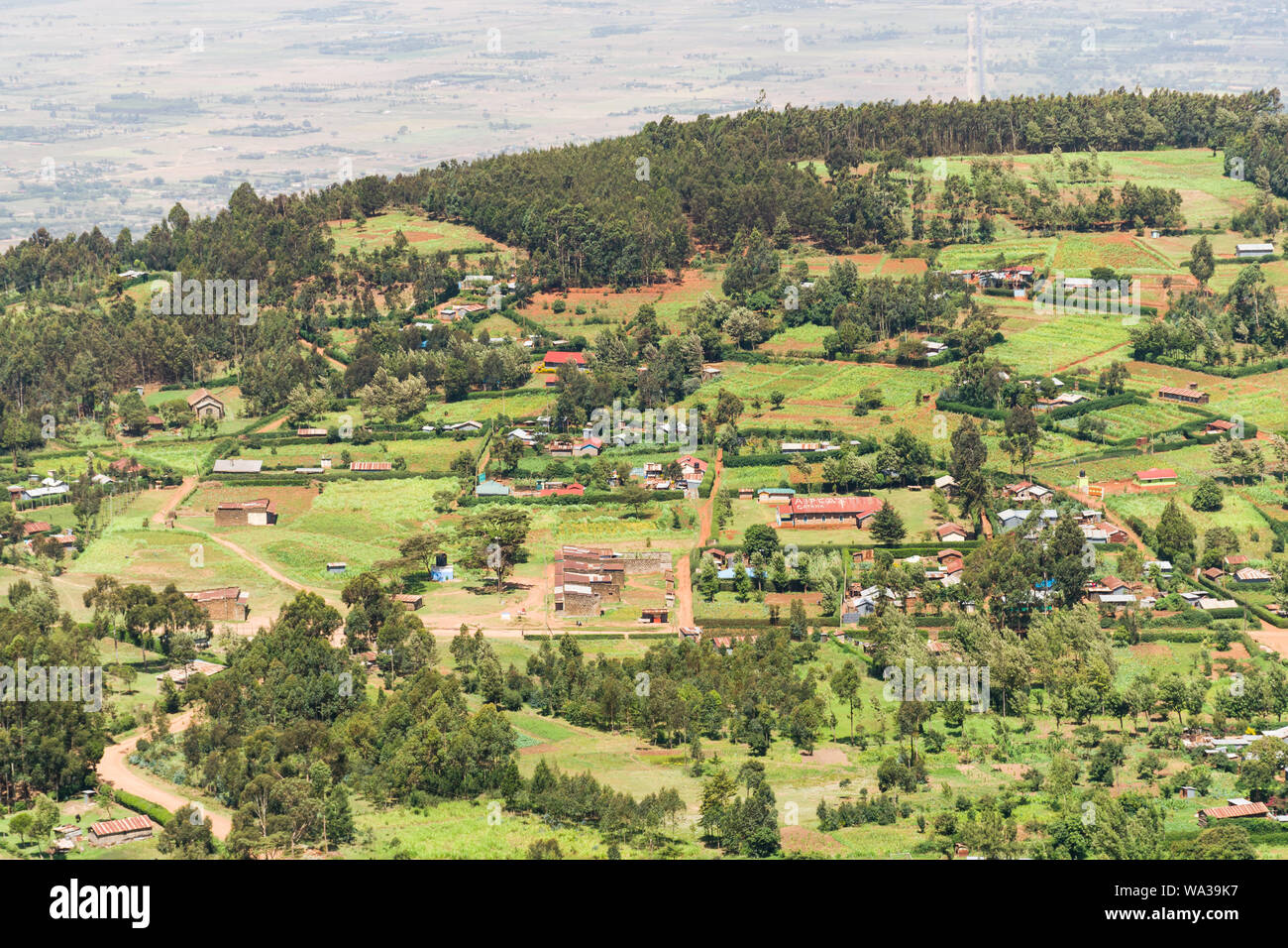 Elevated view of homes, farms and buildings in the Rift Valley, Kenya Stock Photo
