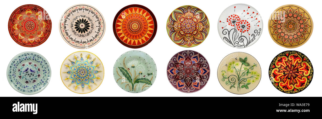 Set Of Decorative Ceramic Dishes Hand Painted With Acrylic