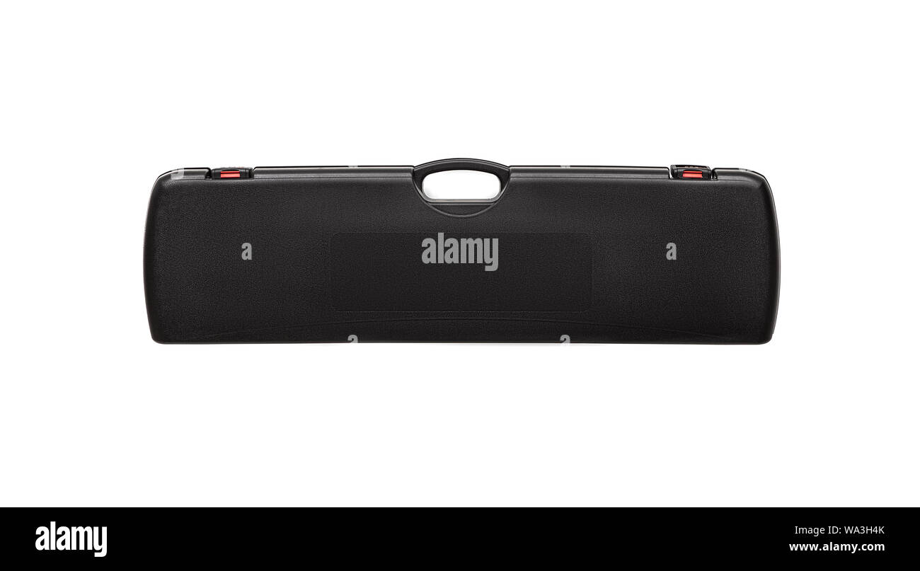 Black plastic case for gun isolated on white background. Black plastic case with combination locks. Stock Photo