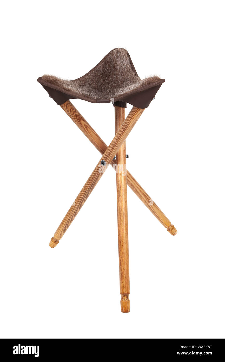 Admirable Folding Wooden Hunting Stool Tripod Isolate On White Squirreltailoven Fun Painted Chair Ideas Images Squirreltailovenorg