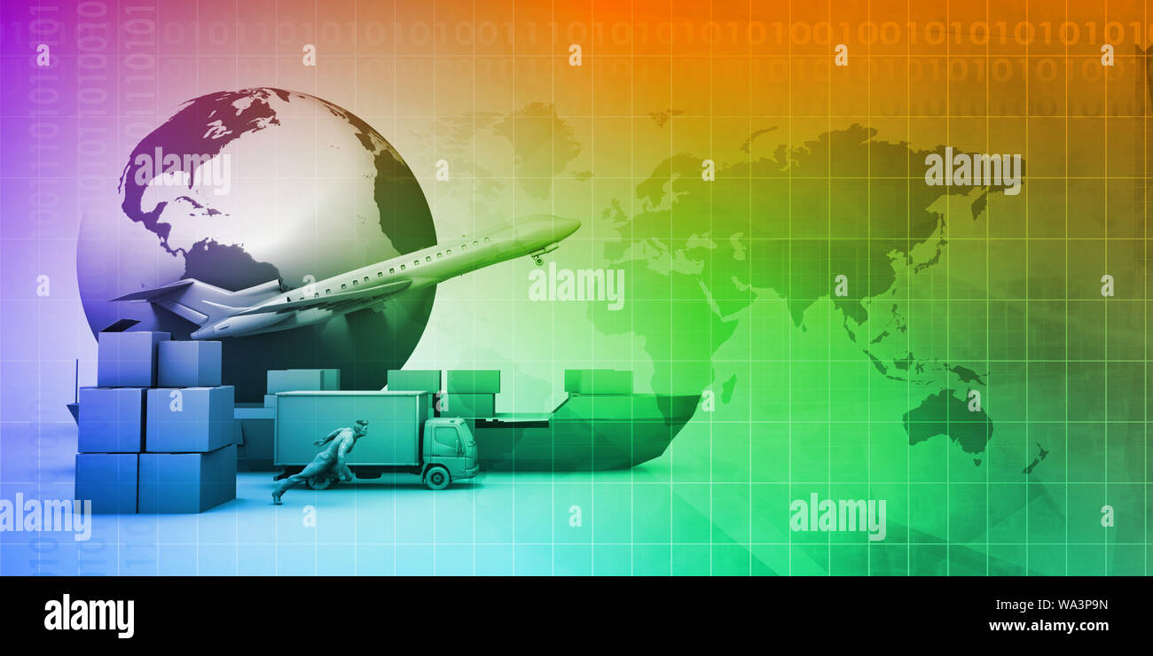 Supply Chain Software Solution for Global Network Concept Stock Photo