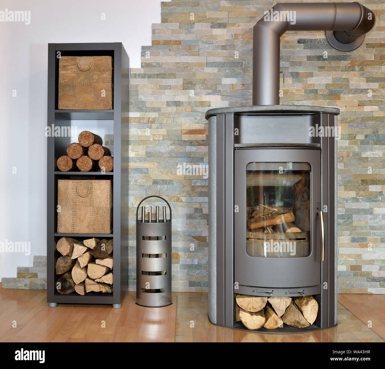 Kaminofen mit Holz und Rindenbriketts Wood burning stove with fire-wood and Stock Photo