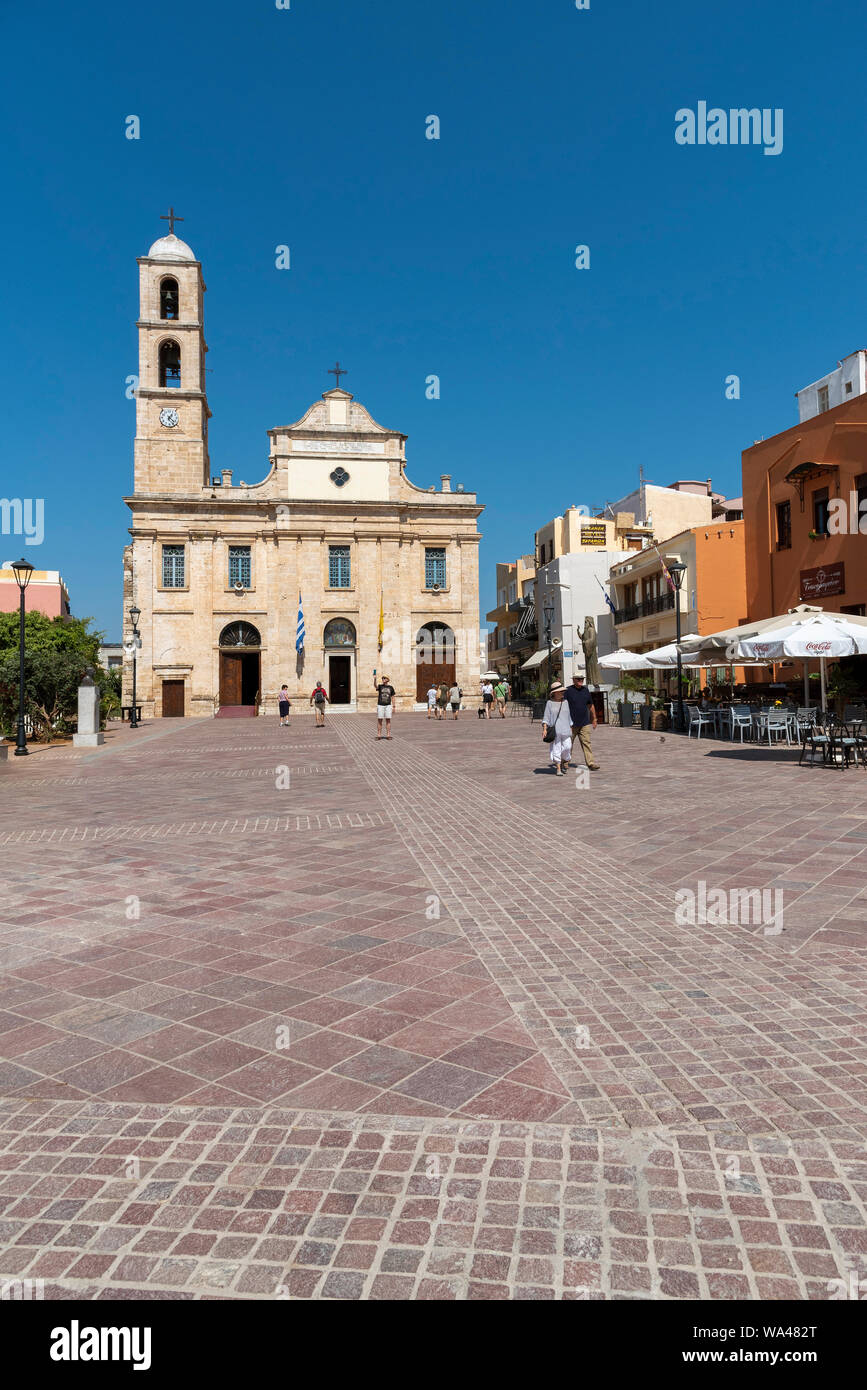 Chania, Crete, Greece. June 2019. Chania Cathedral dedicated to Panagia Trimartyri the Patron Saint of Chania in the old town centre. Stock Photo