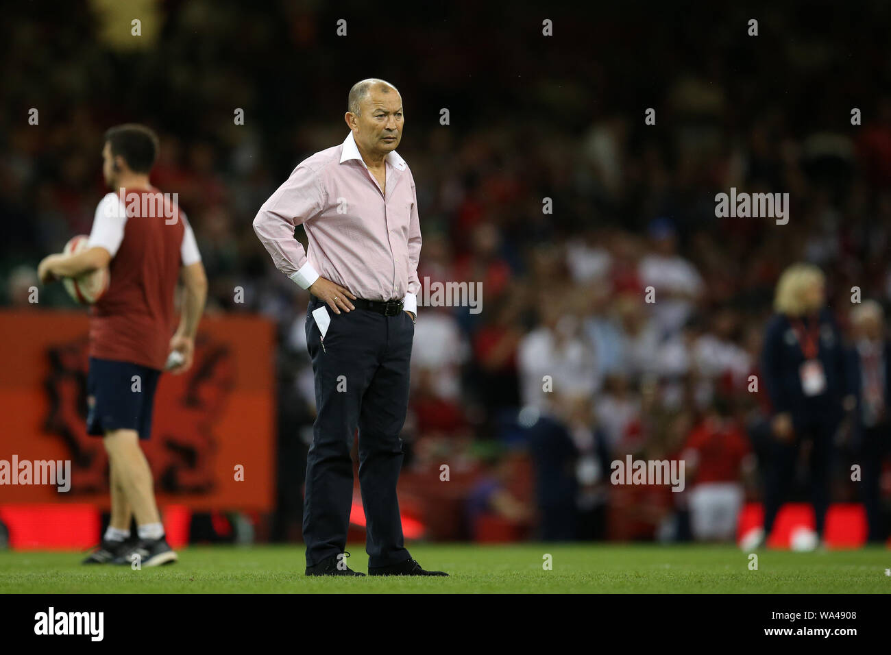 arriving innovative design first look Cardiff, UK. 17th Aug, 2019. Eddie Jones, the England rugby ...