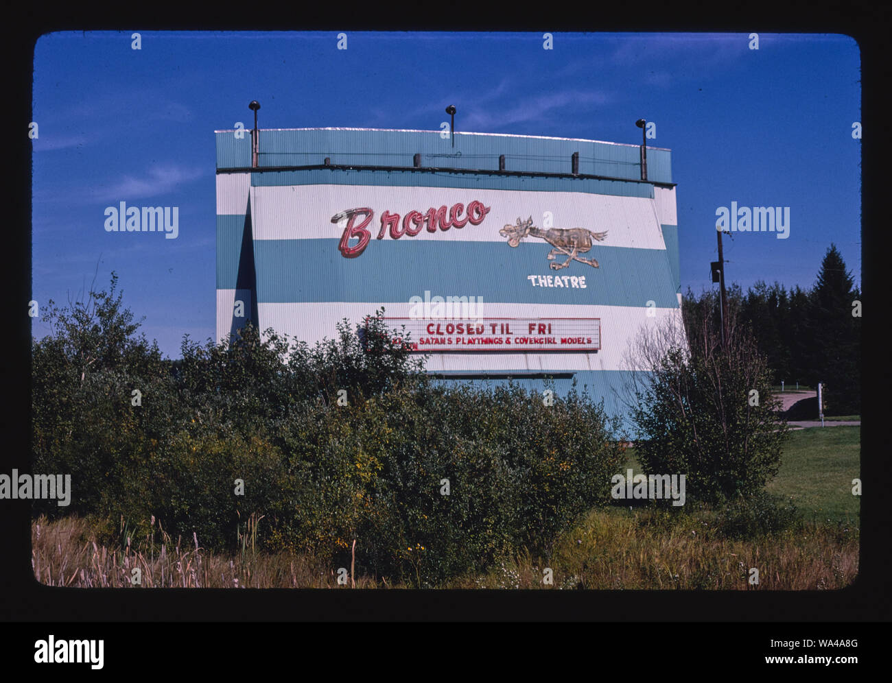 Bronco Drive In Theater Route 2 Bemidji Minnesota Stock