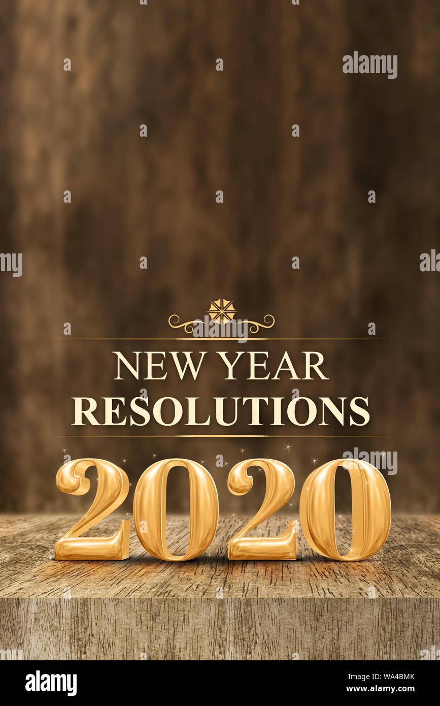 New Years Resolutions 2020.Gold Shiny 2020 New Year Resolutions 3d Rendering At