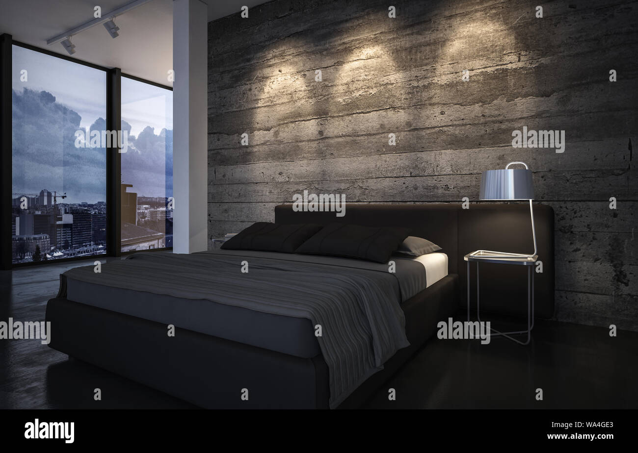 Luxury Bedroom At Dusk With Down Lights Casting A Pattern On