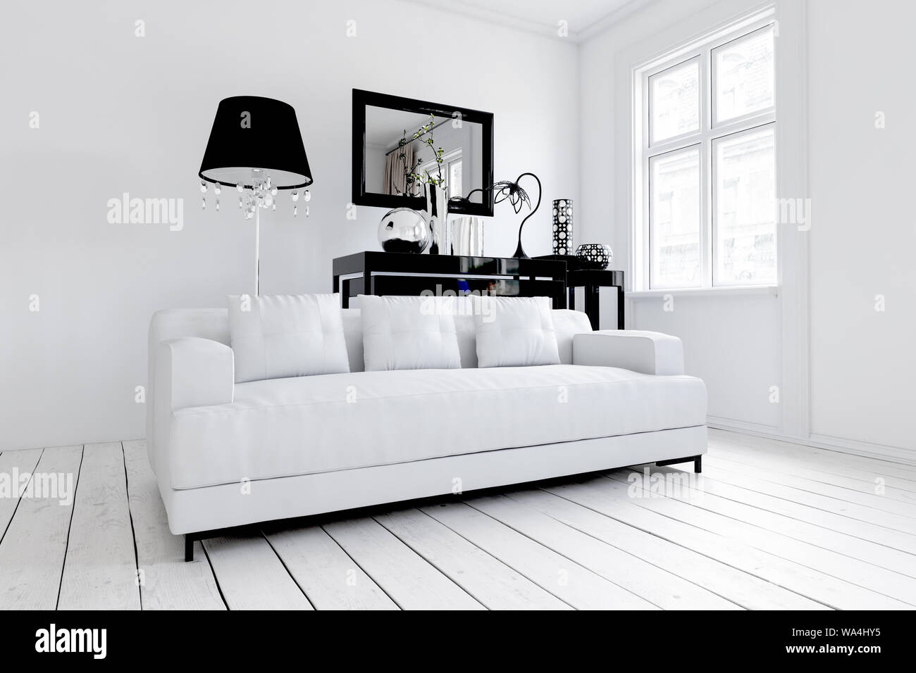 White Sofa In Stylish Modern Living Room With Wooden Floor And Mirror In Background 3d Rendering Stock Photo Alamy