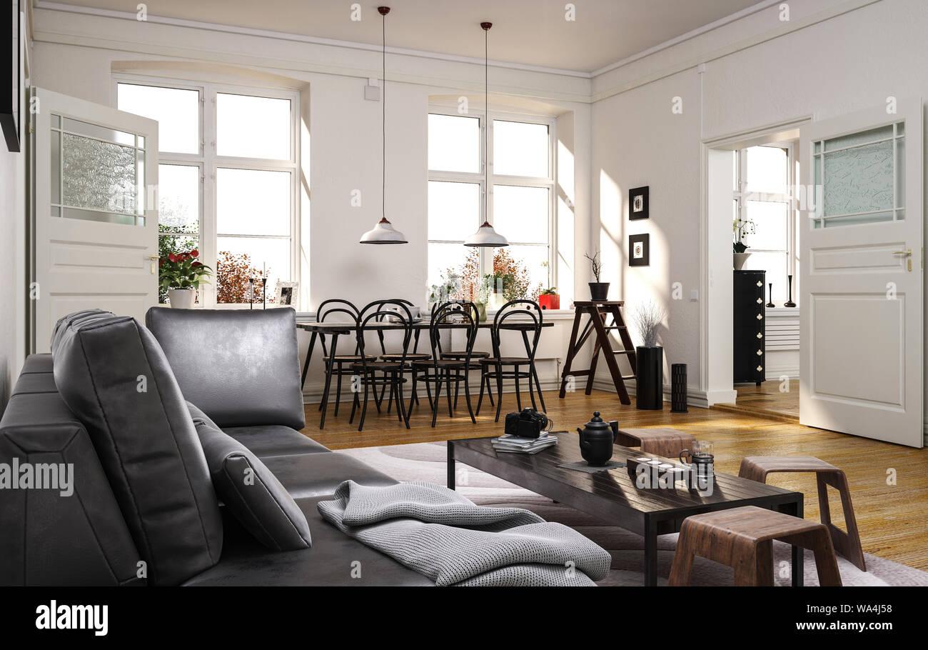Spacious Modern Open Plan Living Room With Comfortable Grey Sofa