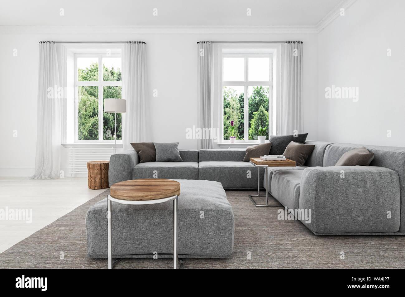Comfortable Minimalist Sitting Room Interior With