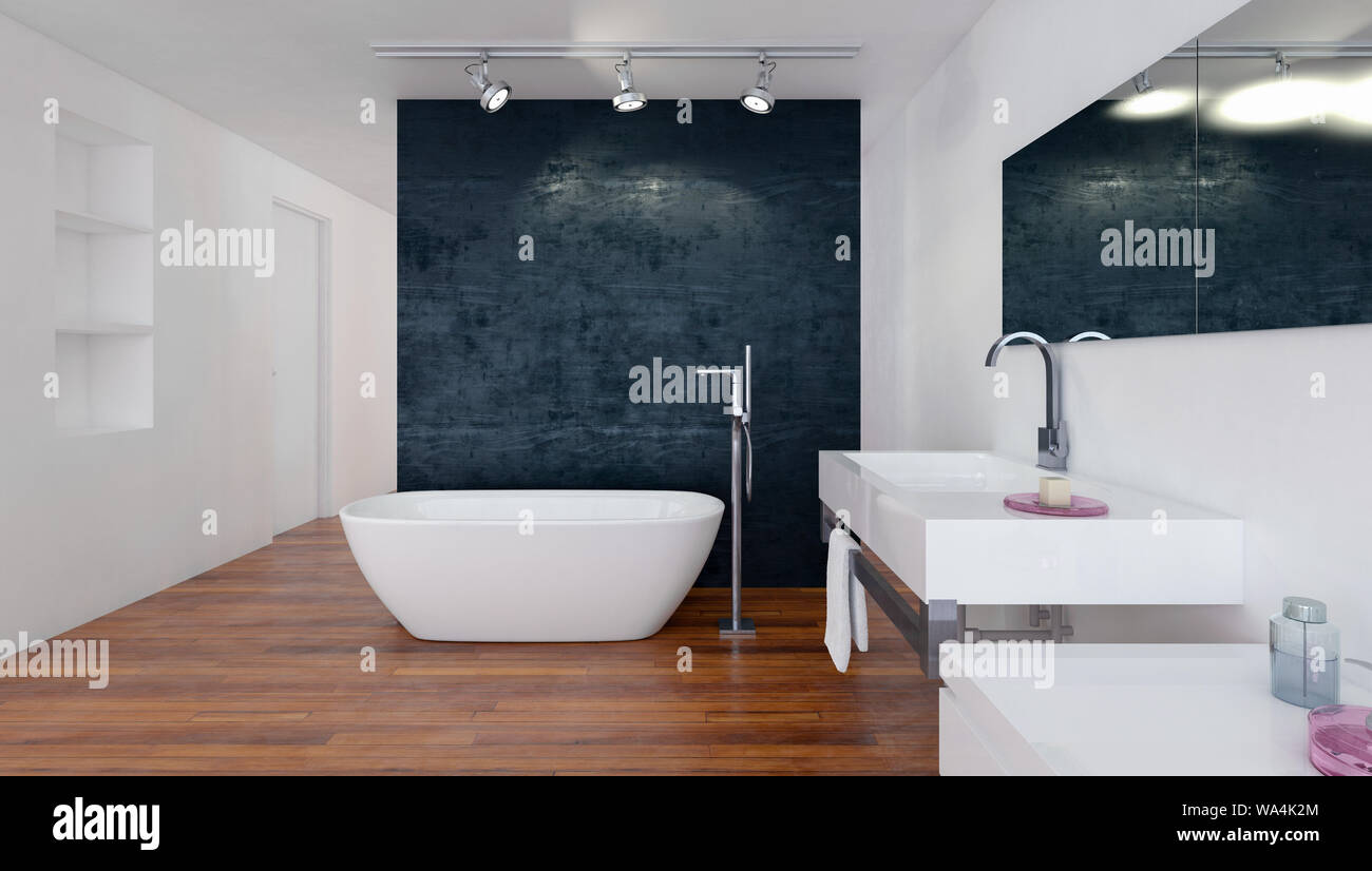 Modern Bathroom With Black And White Decor A Boat Shaped