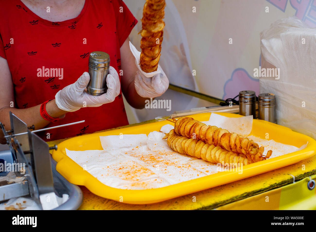Spiral Potatoes Fried On Wooden Sticks Spiral Selling Food At The