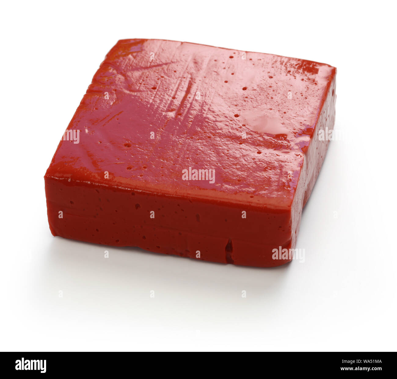 red konjac tofu, japanese food isolated on white background Stock Photo