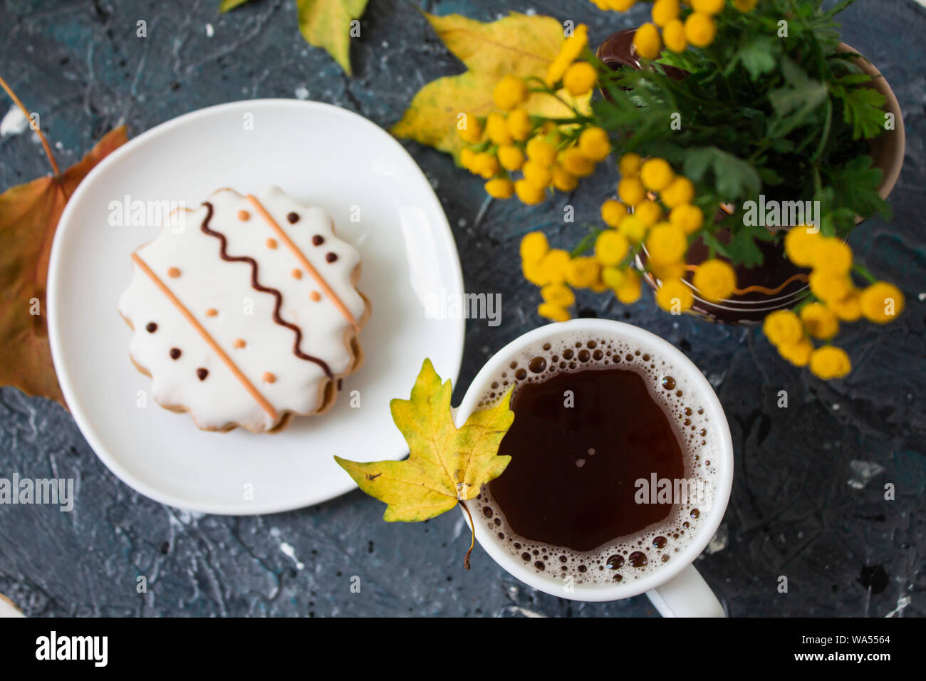 Tea green tea. Herbal tea. Mint leaf. Tea with apple flavor. Tea in a glass cup with apple blossoms and leaves dried tea sliced lime. herbs tea and Stock Photo