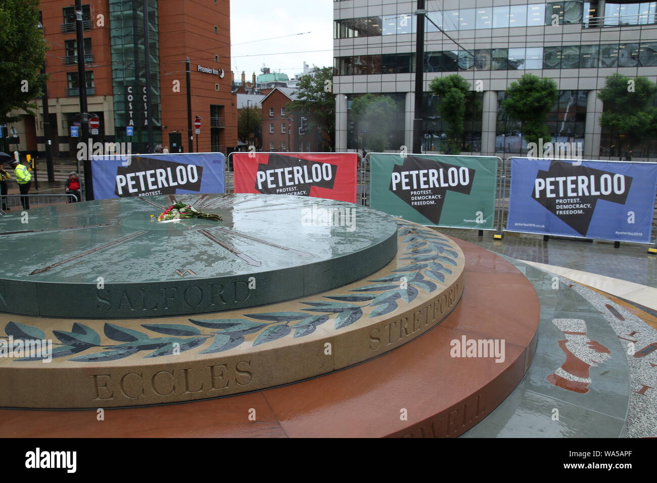 People gather together in Manchester in memory of the people that died in the Peterloo Massacre 200 years ago - Peterloo Memorial Manchester. Stock Photo
