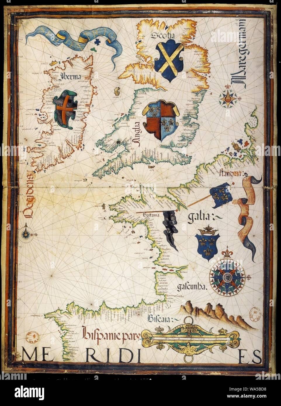 Diogo Homen 1559 France. Stock Photo