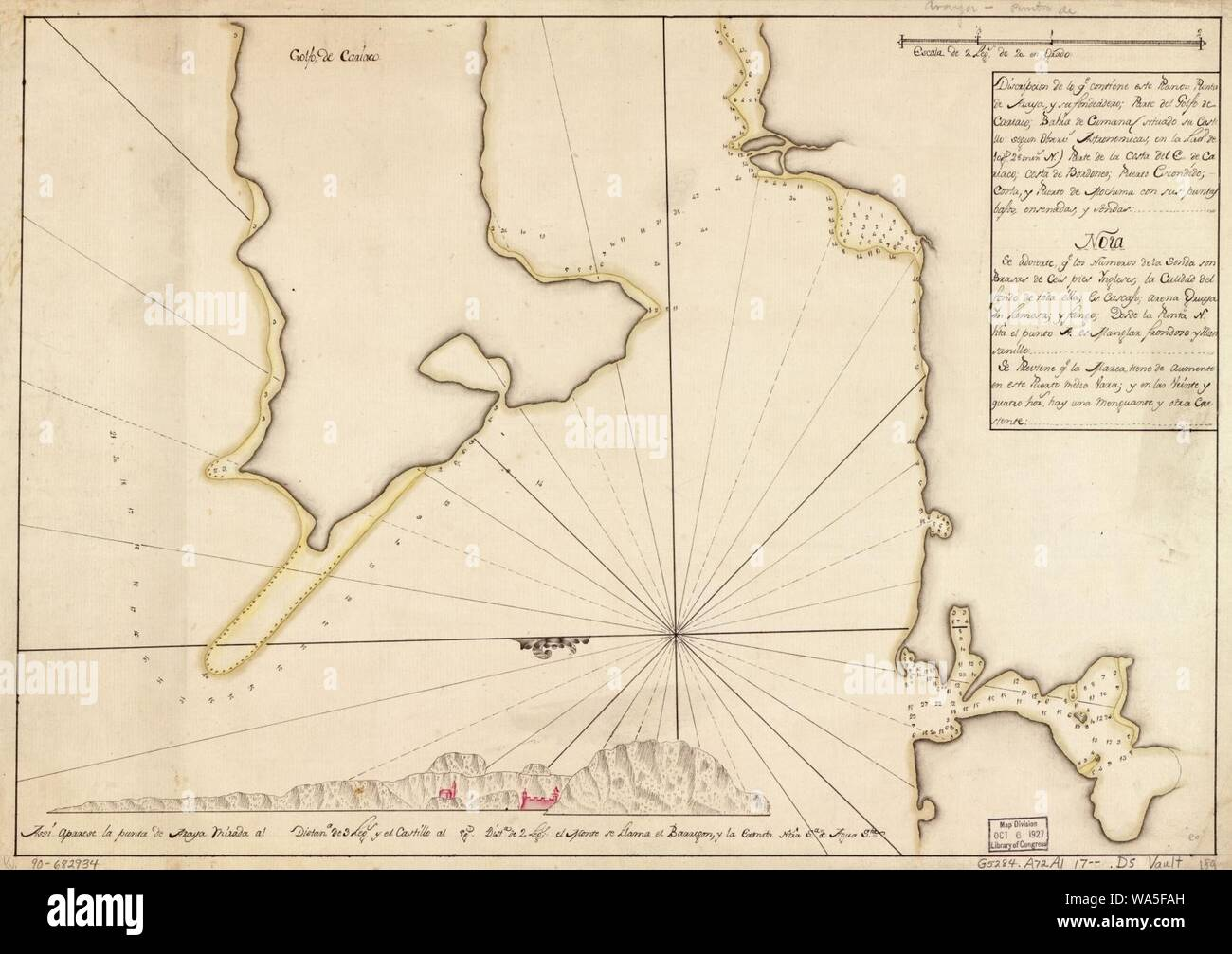 Venezuela 1885 old antique vintage map plan chart Gulf of Cariaco