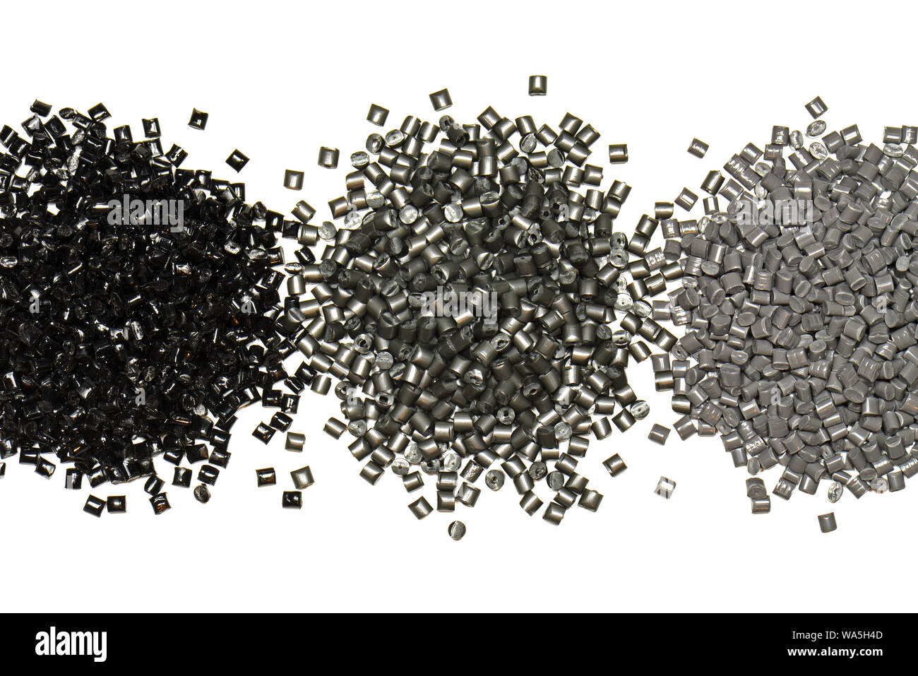 silver polymer resin granulate in lab Stock Photo
