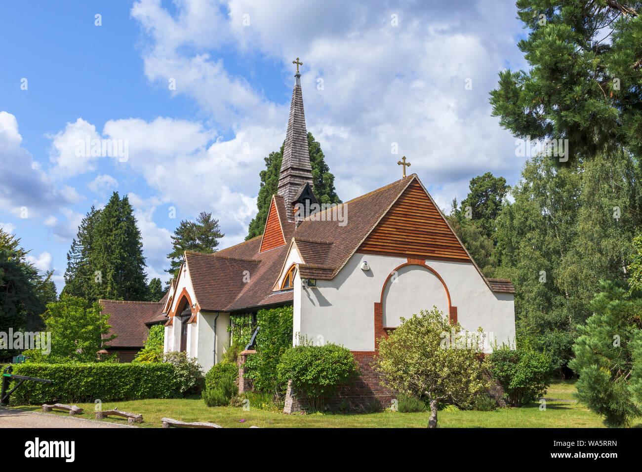 Exterior of traditional Greek Orthodox Saint Edward Shrine Church and Brotherhood, Brookwood Cemetery, a historic Victorian building, Woking, Surrey Stock Photo