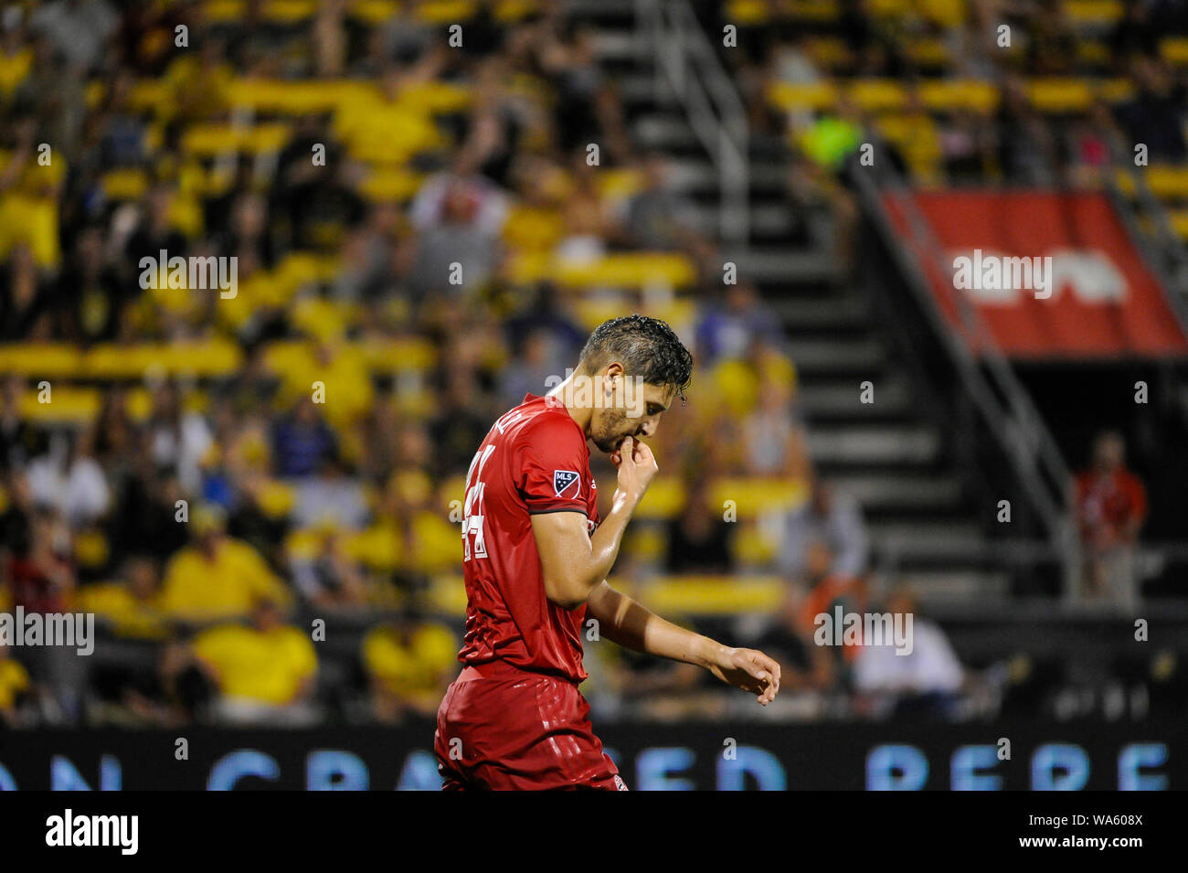 Saturday, August 17, 2019: Toronto FC defender Omar Gonzalez (44) in the second half of the match between Toronto FC and Columbus Crew SC at MAPFRE Stadium, in Columbus OH. Mandatory Photo Credit: Dorn Byg/Cal Sport Media. Toronto FC 2 - Columbus Crew SC 2 at the end of the first half. Stock Photo