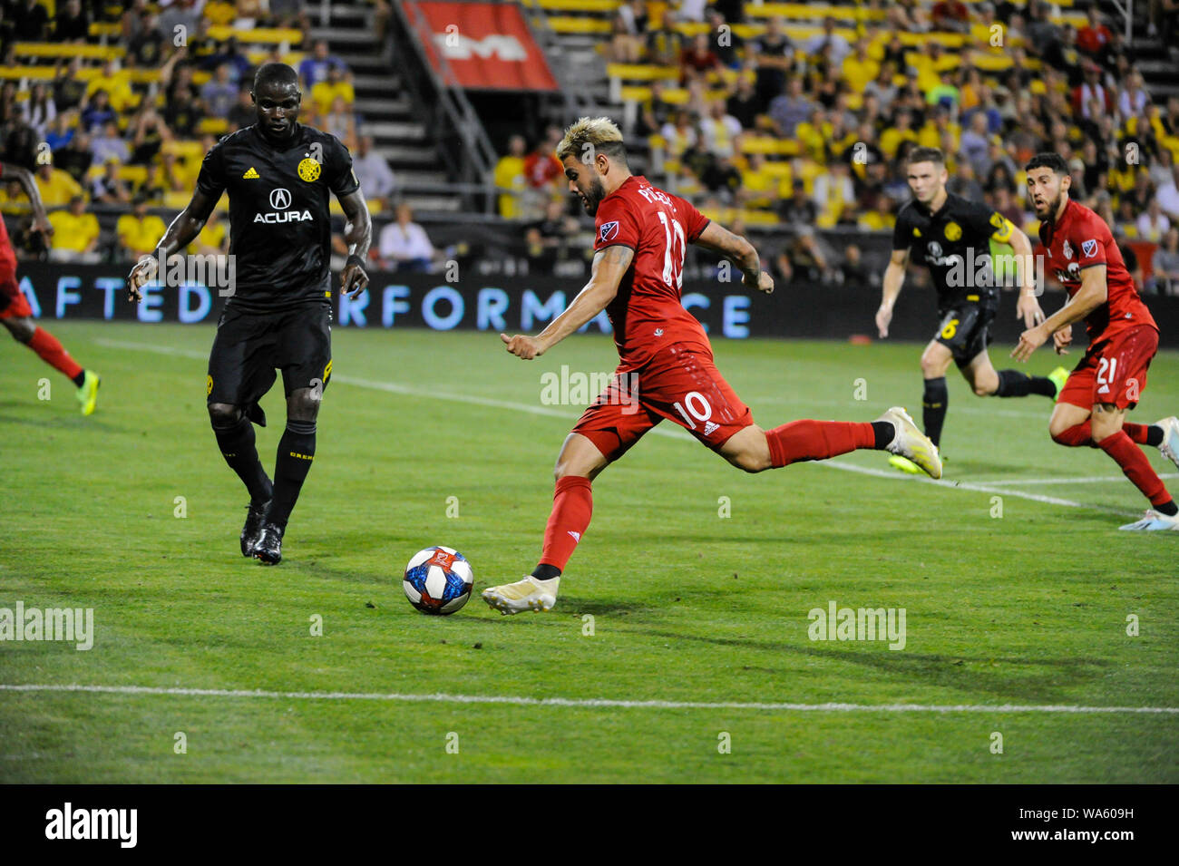 Saturday, August 17, 2019: Toronto FC midfielder Alejandro Pozuelo (10) in the second half of the match between Toronto FC and Columbus Crew SC at MAPFRE Stadium, in Columbus OH. Mandatory Photo Credit: Dorn Byg/Cal Sport Media. Toronto FC 2 - Columbus Crew SC 2 at the end of the first half. Stock Photo