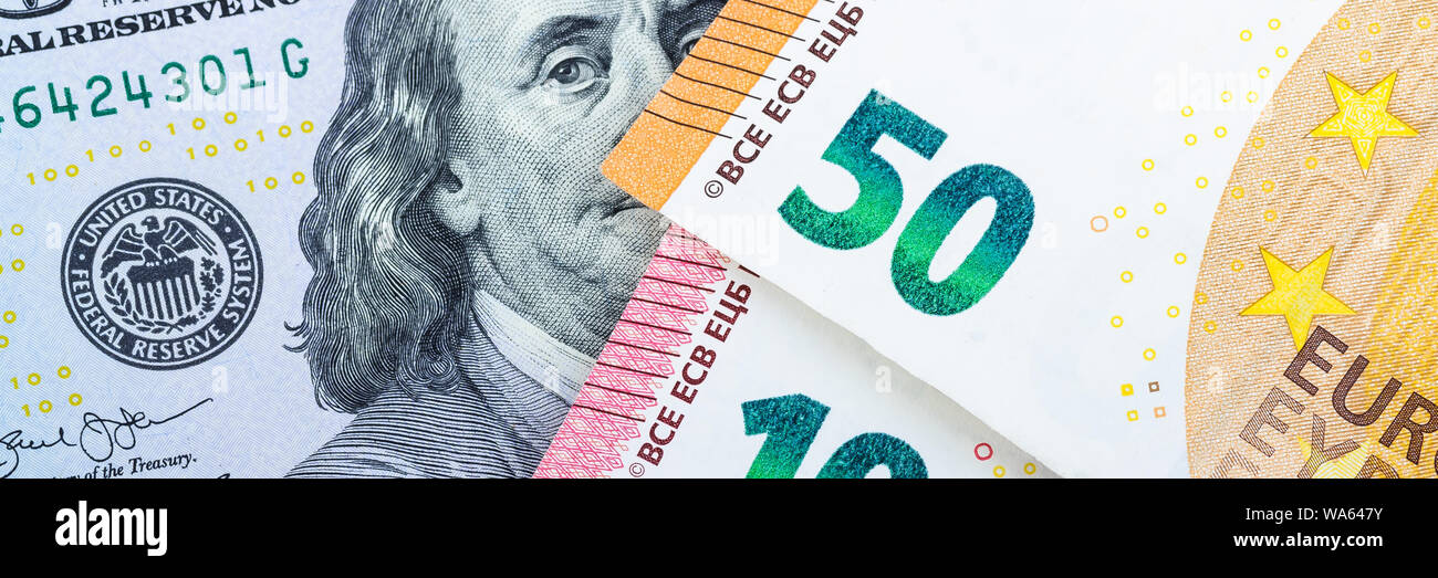 Euro bills. Different denominations on a gray background. 5, 10 50 euros Stock Photo