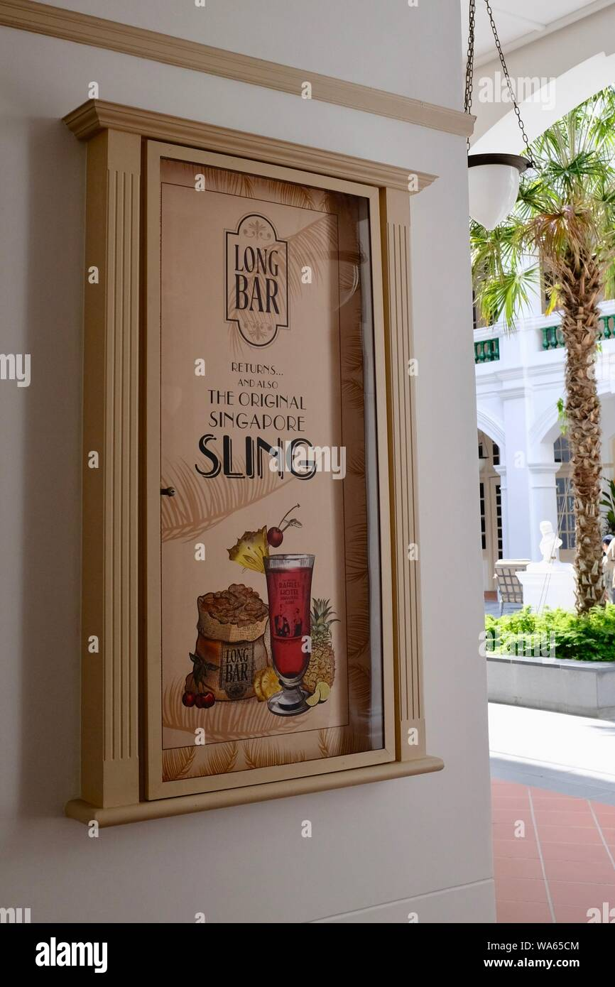 New Poster Announcing Reopening Of Long Bar Raffles Hotel Singapore On August 2019 Home Of The Iconic Singapore Sling Cocktail After Restoration Stock Photo Alamy