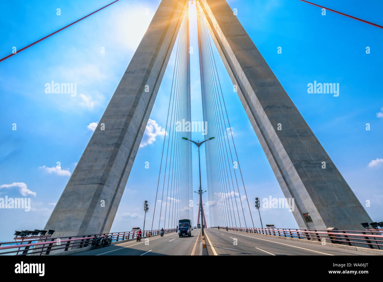 Can Tho bridge cable traffic stays on the Mekong River in the morning connecting traffic between Vinh Long and Can Tho, Vietnam Stock Photo