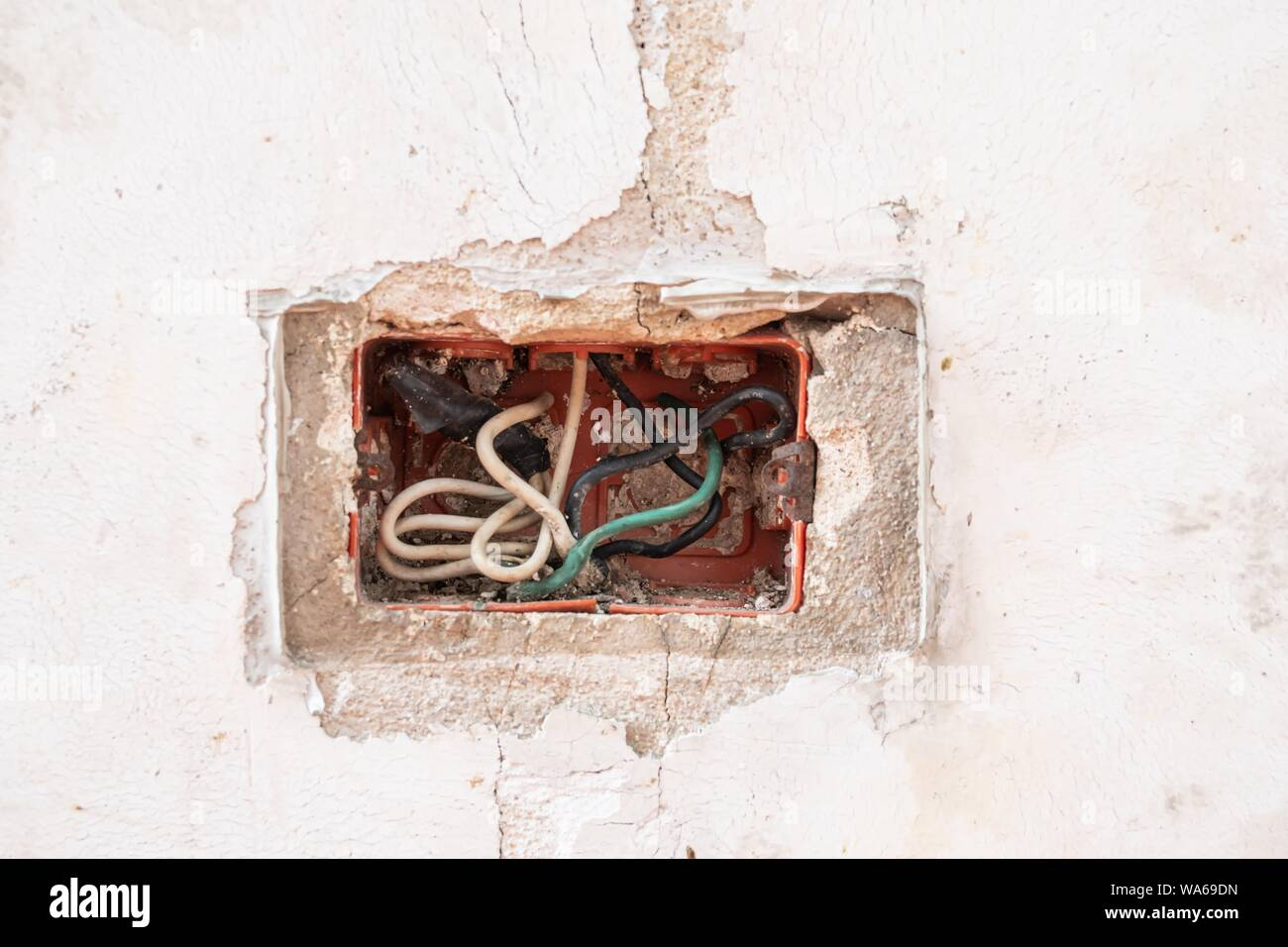 old cracked concrete wall and old electric box Stock Photo