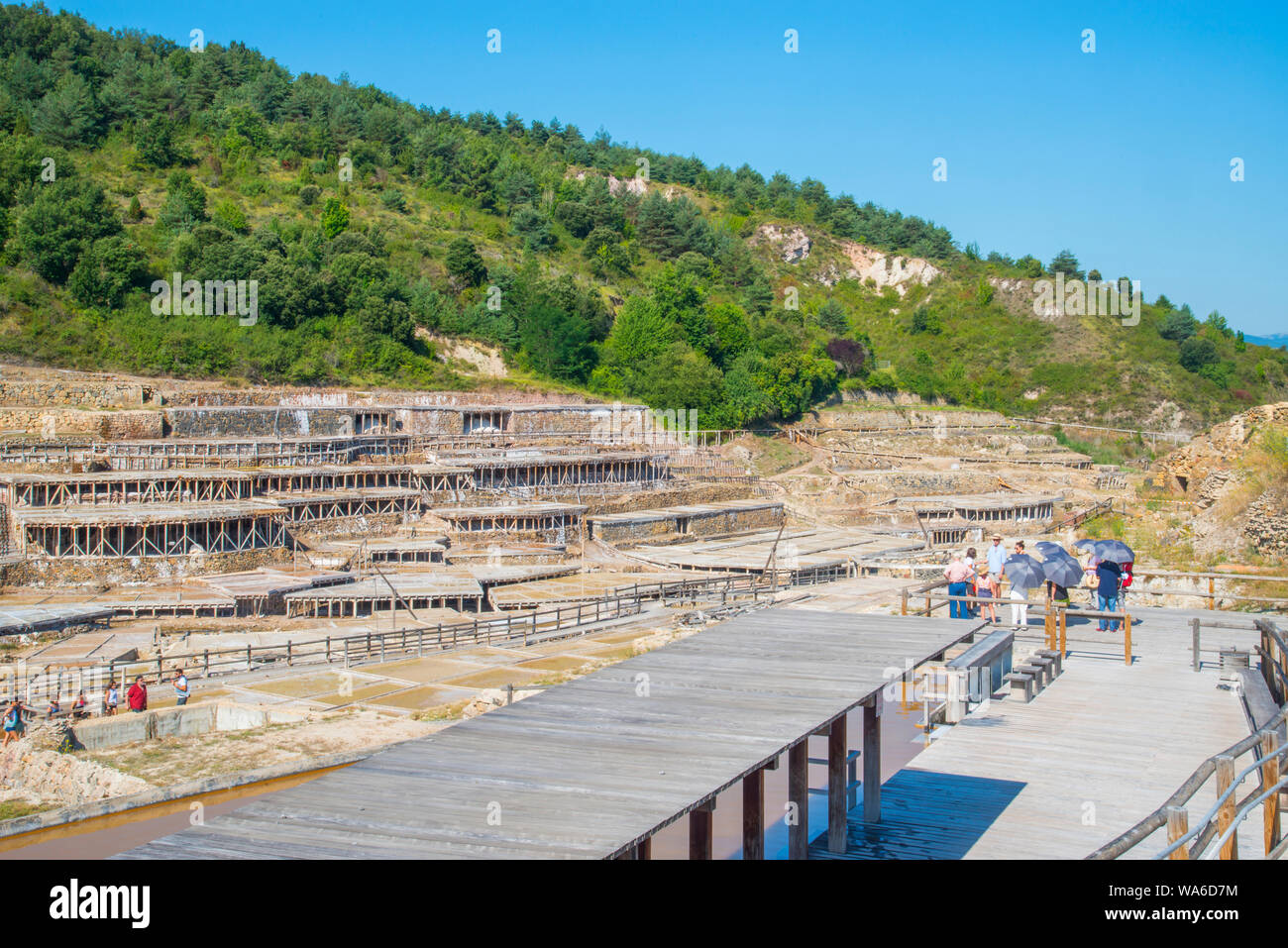 People visiting the saltworks. Salinas de Añana, Alava province, Basque Country, Spain. Stock Photo