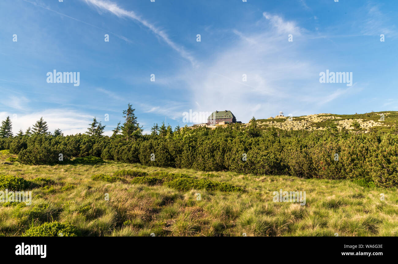 Szrenica hill with hut, pinus mugo shrubs and rocks in Karkonosze mountains in Poland near borders with Czech republic Stock Photo