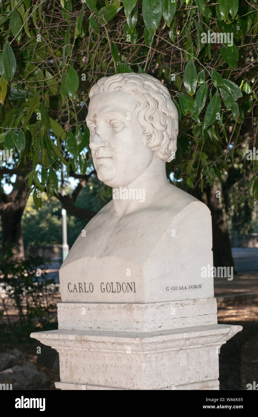 Marble bust of Carlo Goldoni (by Giovanni Cicala), Pincio Gardens, Rome, Italy Stock Photo