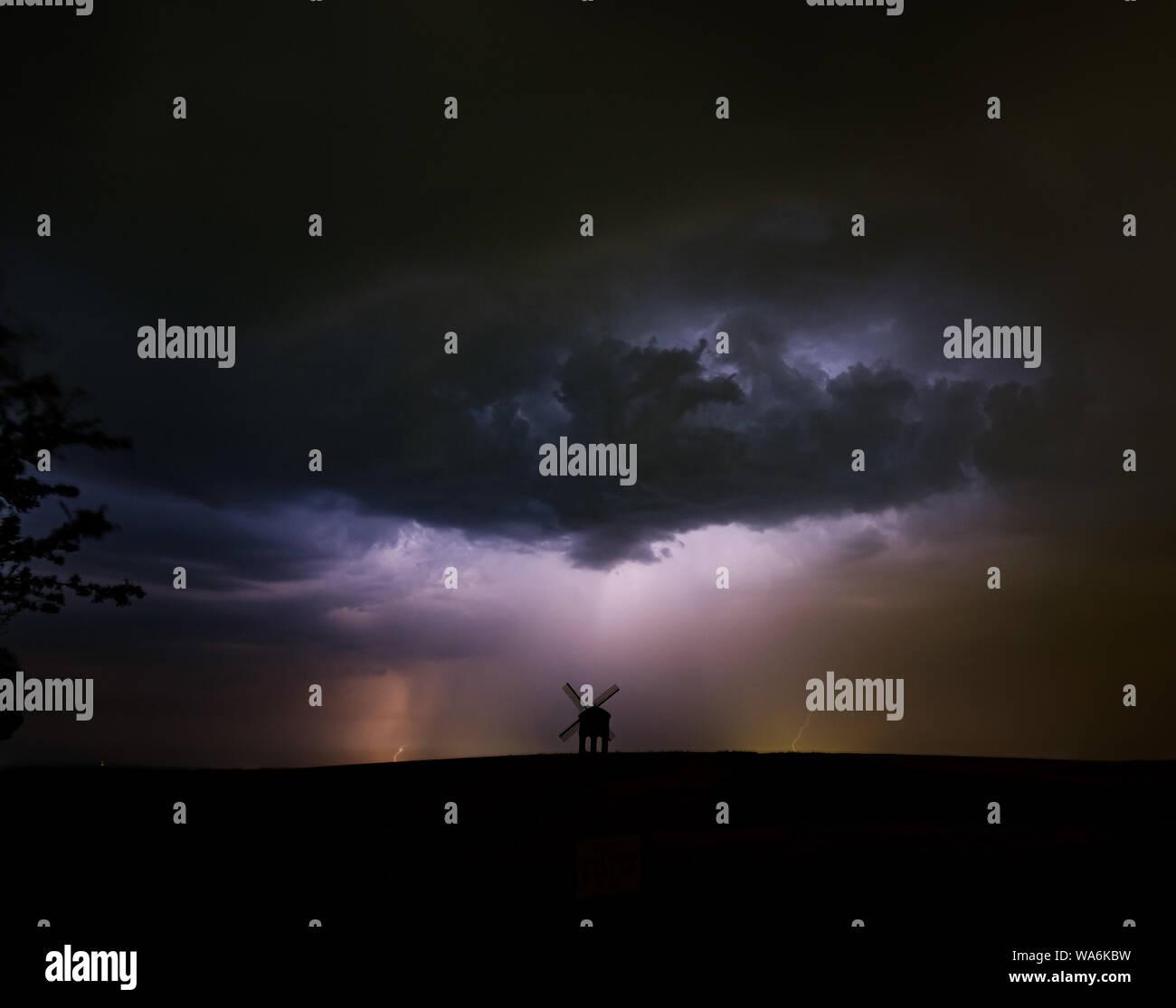 Lightning storm over Chesterton Windmill, Warwickshire, UK Stock Photo