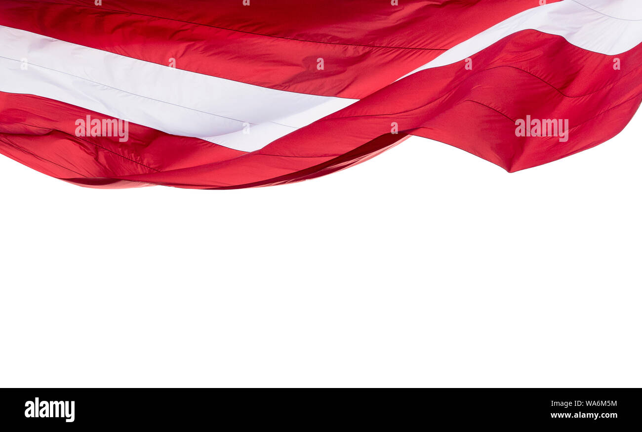 Latvia Flag isolated on white Background with space for Text, National flag of Republic of Latvia - isolated Stock Photo