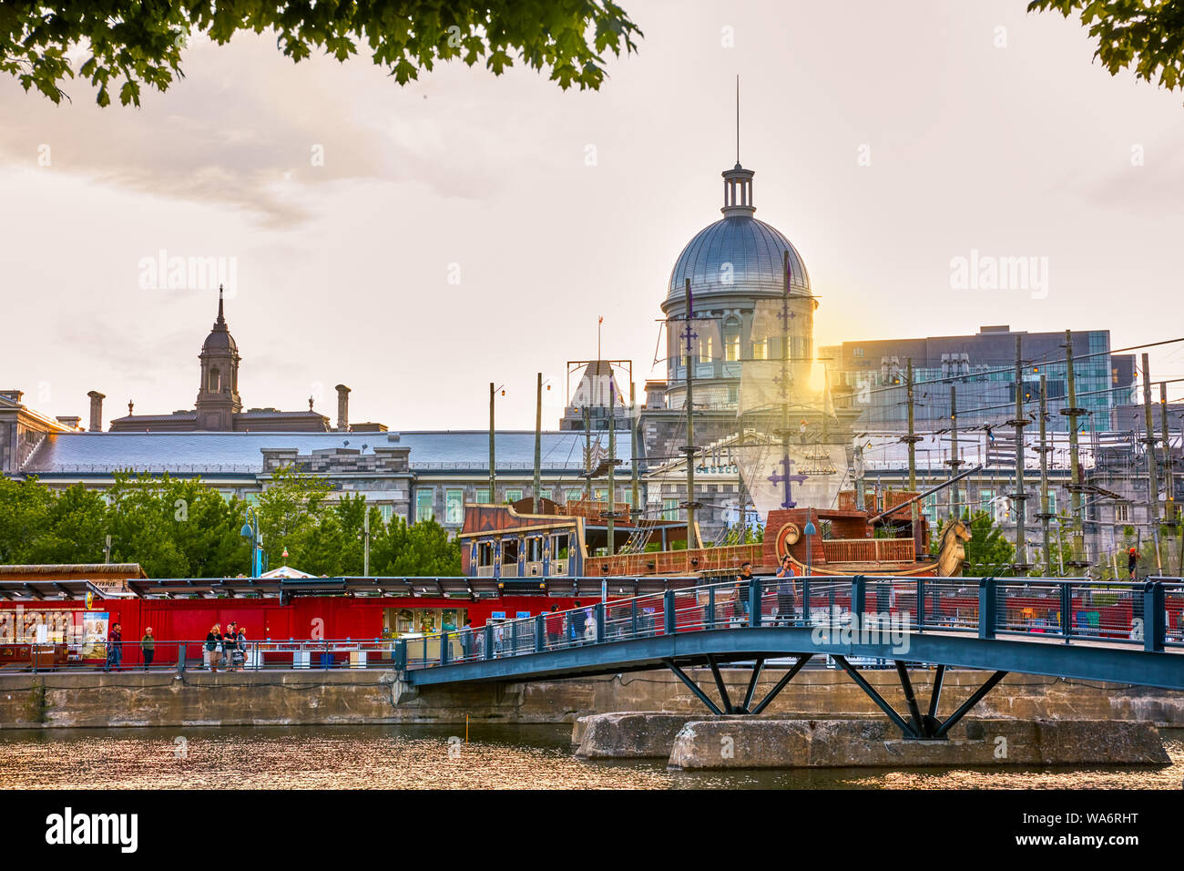 Bonsecours market or marche bonsecours building, city hall and the panoramic view of old town Montreal, Quebec, Canada. Stock Photo