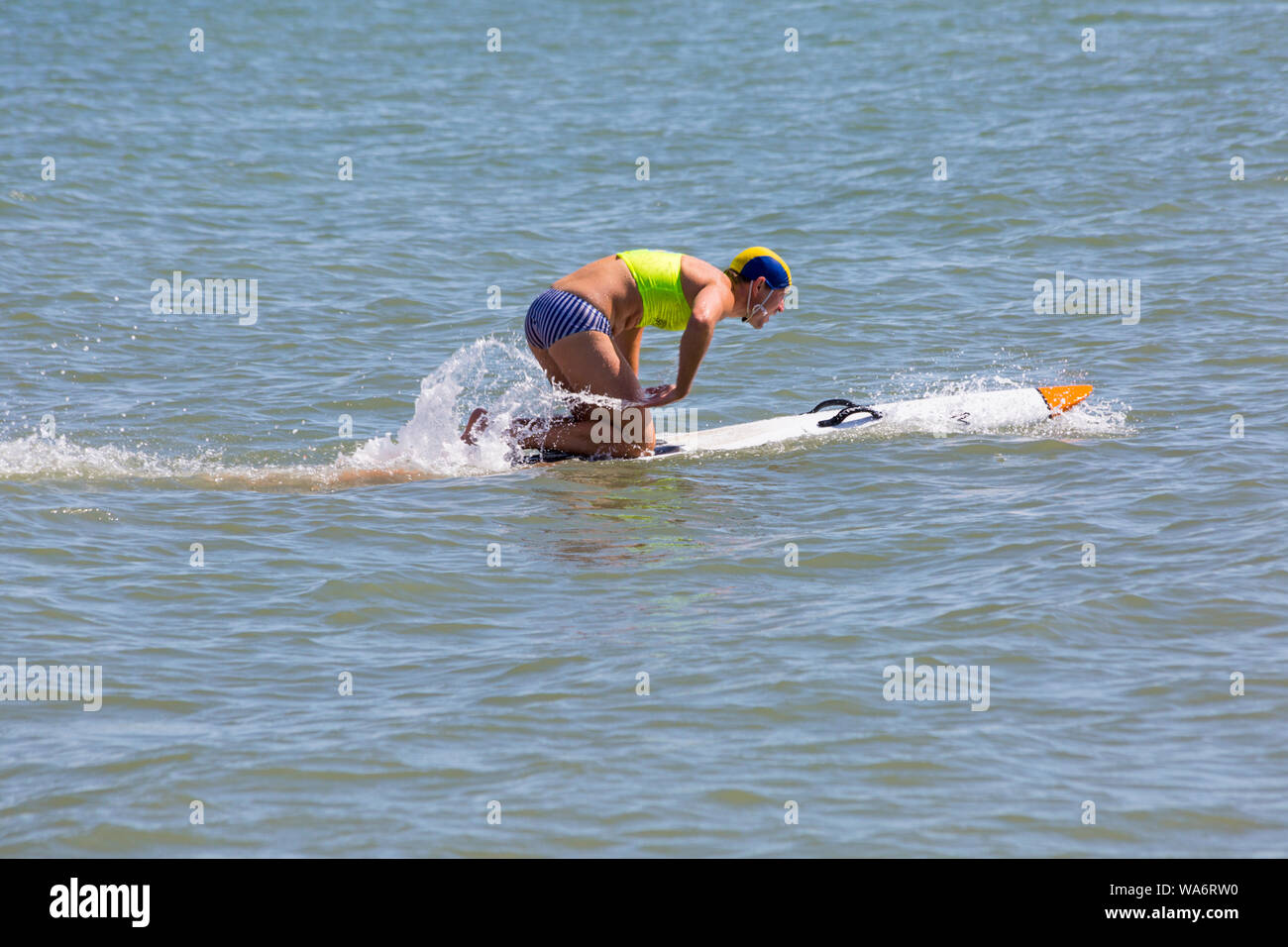 Branksome Chine, Poole, Dorset UK. 18th Aug 2019. GB Surf Life Saving National Championships take place at Branksome Chine beach. Branksome Chine Life Saving Club host the event, the first time ever a club outside of Devon and Cornwall have been invited to host the entire event. Credit: Carolyn Jenkins/Alamy Live News Stock Photo