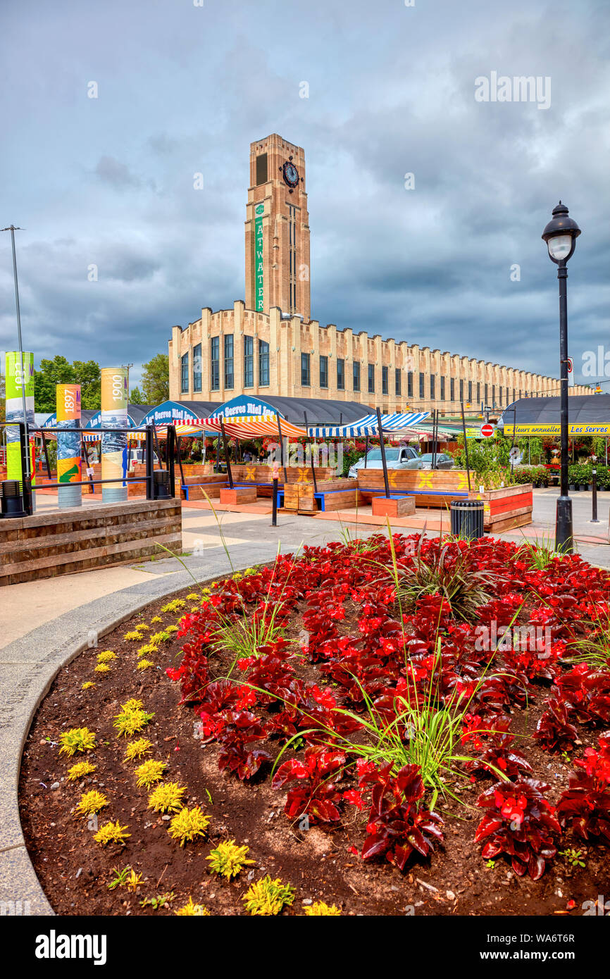 Exterior view of Atwater Market building and its clock tower with flower shops around in Montreal, Quebec, Canada. Stock Photo